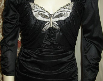 Vintage 1980's Black Satin Party Dress Butterfly Sequins Algo Ruched Wiggle Dress