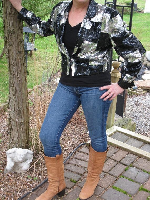 RESERVED for Janet Vintage 1980s Sequin Silk Crop Punk Rocker Jacket Black Silver PaRtY time coat On Trend
