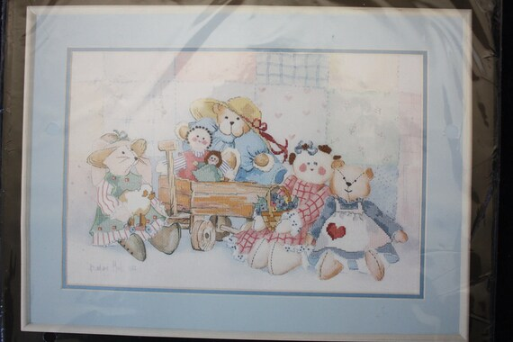 "No Count Cross Stitch Kit New in Package Barbara Mock's ""Attic Treasures"" Rabbits, Bears & Rag Dolls w/ Quilt"
