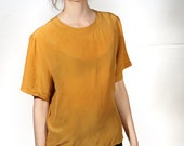 silk 90s gold yellow capped sleeve boxy slouchy shirt