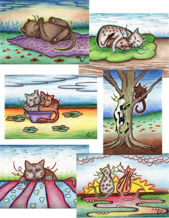 Cat postcards (6x2 pieces), greeting card, cat birthday card, cards with handmade cat and kitten drawings, cat art postcards, cat lover gift