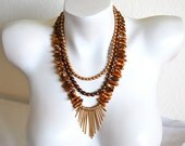 Multi Strand Beaded Necklace, Antique Copper Cultured Pearl Necklace, Antique Brass Spikes, .925 Sterling Silver Clasp