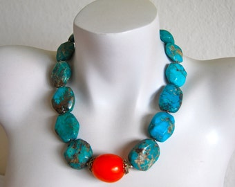 Chunky Turquoise Necklace, Turquoise Nuggets, Amber Focal, .925 Sterling Silver