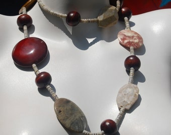Chunky Long Beaded Necklace, Picture Jasper Slabs, Wood, Red Agate, .925 Sterling Silver