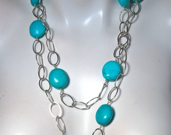Chunky Sterling Silver Chain Necklace, Turquoise Nuggets Necklace, .925 Sterling Silver