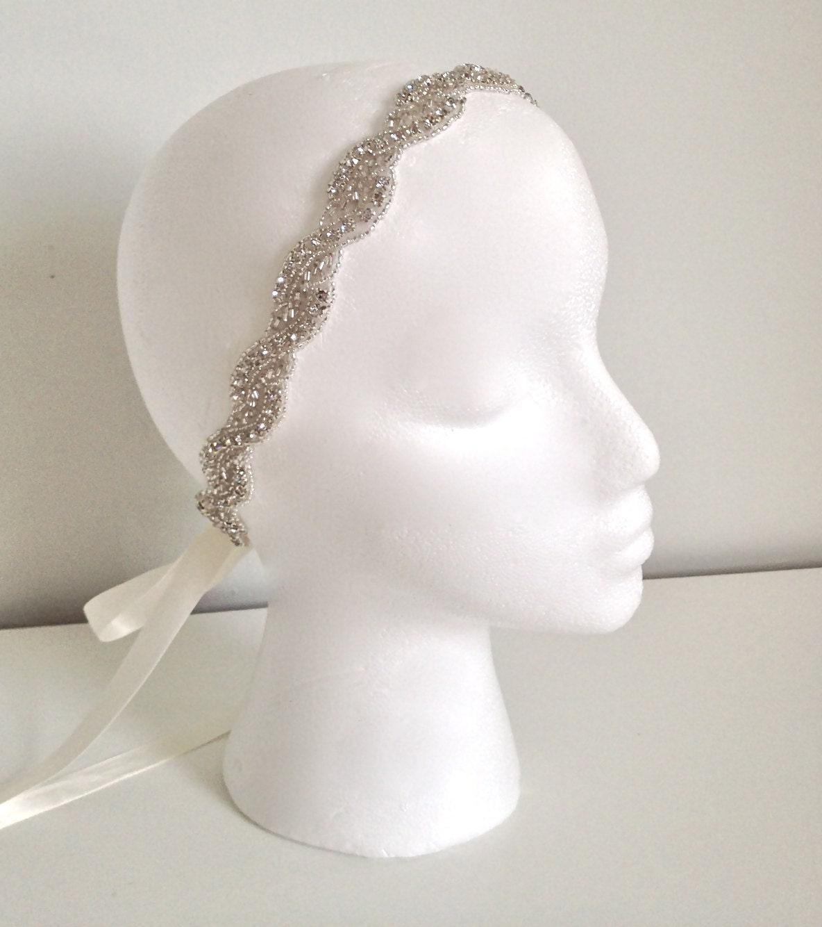 bridal beaded headband crystal ribbon headband by bohica01 on etsy