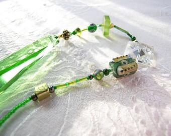 Beaded Suncatcher, green vintage chandelier prism, depression glass green, rainbow maker, Chi-Swirler