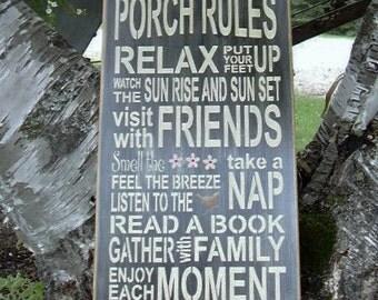 Porch Rules , Porch, Handmade, Subway, Word Art, Wood Sign