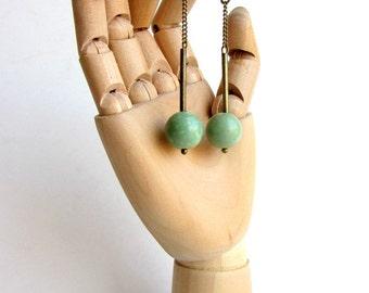 Pendant Brass earrings. Mint green turquoise beads gemstone long earrings. Antique brass chain. Dangle earrings