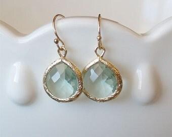 Sea Green Amethyst Drop Earring in Gold - Prasiolite Drop on Gold Filled Earwire - Aqua Green Earrings - Bridesmaid Jewelry