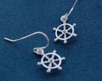 SALE - Nautical Earrings - Ships Wheel Earrings - Boat Helm on Sterling Earwires - Nautical Jewelry, Sailing Jewelry