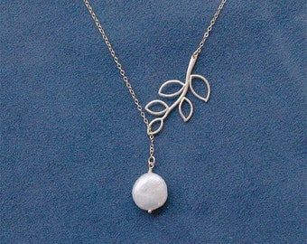 Pearl Lariat with Gold Branch on Gold Filled Chain - Bridesmaid Necklaces, Bridal, Wedding