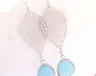 Aqua Earrings in Silver - Boho Dangle Earrings - Paisley Filigree with Aqua Drops - Sterling Silver Earwires