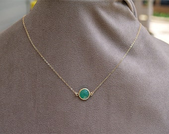 Kelly Green Stone Necklace - Gold Filled Chain - Faceted Kelly Green Dot - Palace Green Necklace - Emerald Minimal Jewelry