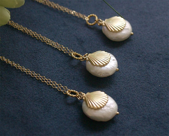 3 Bridesmaid Necklaces - Beach Shell and Coin Pearl Necklace - Gold Filled - Set of 3 - Bridesmaids Sets, Beach Wedding, Bridesmaid Jewelry