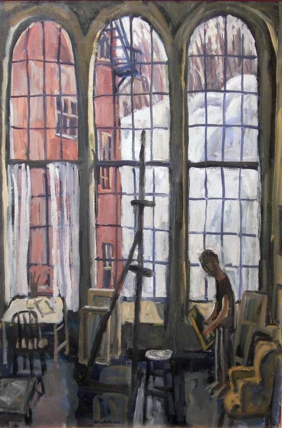 Winter Light, Studio. Large Interior Painting, Modern Expressionist Fine Art, Original Oil Painting on Canvas