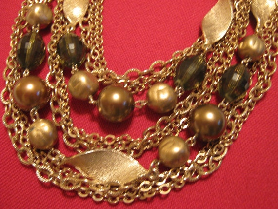 Vintage Mid Century Beaded CHOKER Necklace & EARRINGS Earthtones Autumn Shades