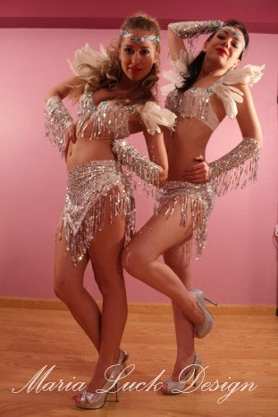 Silver white snow angel costume with feathers sequin fringe for go go dance showgirl burlesque carnival festival