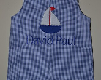 Custom made Personalized Monogrammed Birthday Sailboat Jon Jon, Gingham Romper