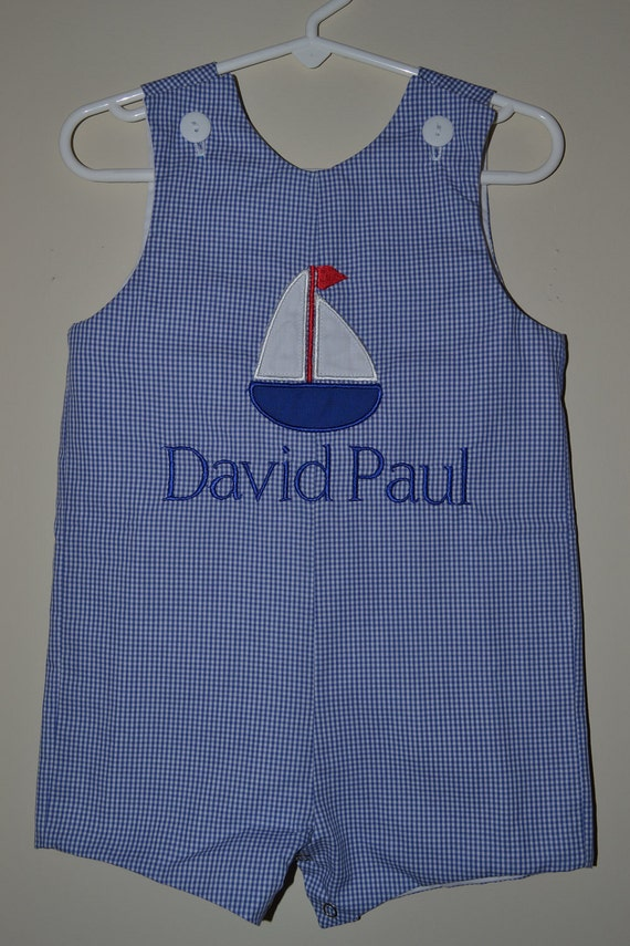 Custom made Personalized Monogrammed Birthday Sailboat Jon Jon, Romper