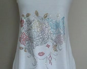 SALE---Glamour Girl with Colorful Flowers and Butterflies in Her Hair on a Racerback Tank