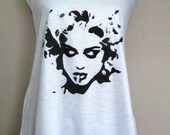 Black & White Retro Madonna with Flower Accent on Racerback Flowy Tank