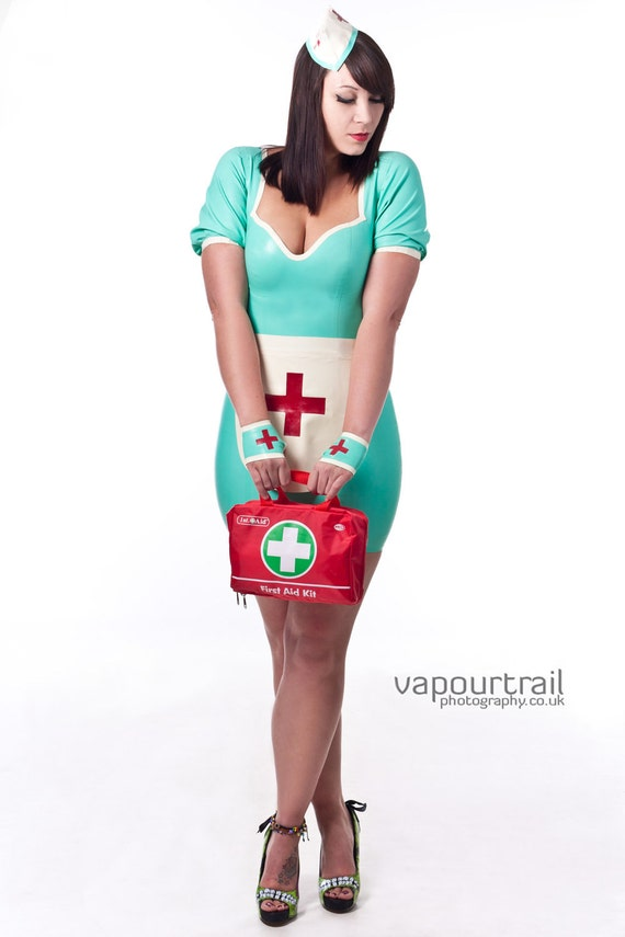 Items similar to Custom colour LATEX naughty nurse Accessory Set- 3 piece, hat, gloves, apron ...