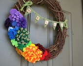 Vine Wreath/Scrabble Banner/Everyday Wreath/Spring/Summer/Felt Flowers/Roses/Rosettes