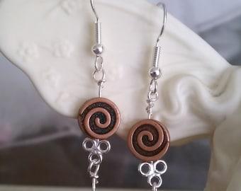 Goldstone Earrings, Sterling pierced hooks and copper swirls.