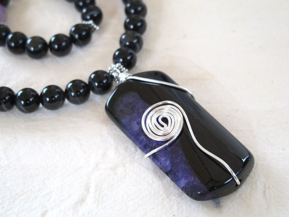 Sardonyx and Purple Agate Necklace
