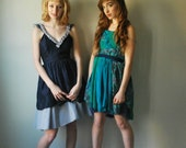 Pixie Prom Dress- Green Teal and Navy Paisley