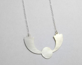 Shaped pendant sterling silver necklace