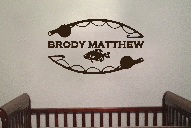 Personalized Fishing Boys Room Vinyl Wall Art Decal