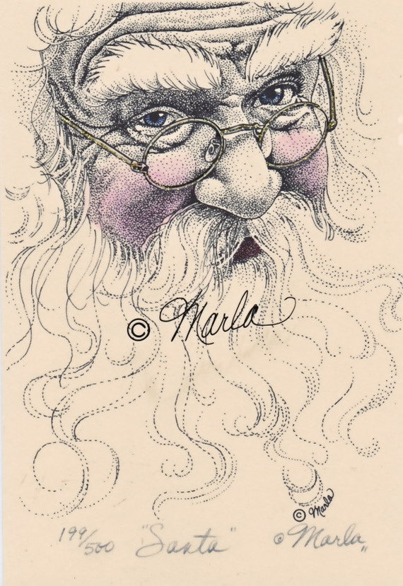 """Santa Claus 4x6"""" Black & White Hand-tinted Signed and Numbered Print Free Shipping"""
