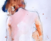 "Female figure watercolor fine art digital print of my original watercolor, by Vernon Grant, 11"" x 14"", Crouching Figure"