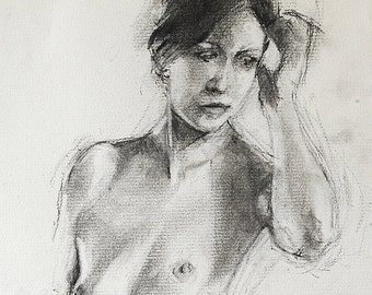 "Nude woman figure drawing, black and white oversize digital print from original charcoal drawing by Vernon Grant, Woman Standing, 24"" x 30"""