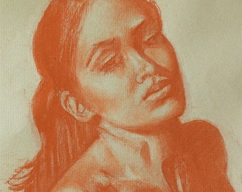 "Pastel woman original figure drawing on gray Canson paper by artist Vernon Grant Approximately 8.5"" x 11"", ready for framing"