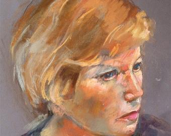 "Pastel portrait woman fine art print digital print from original art by Vernon Grant 11"" x 14"" Lauren"