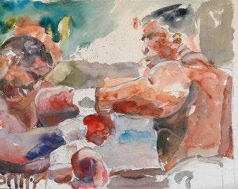 "Sports art, boxing, art print, digital fine art print of my original watercolor, ""Classic Heavyweights"" by Vernon Grant 11"" x 14"""