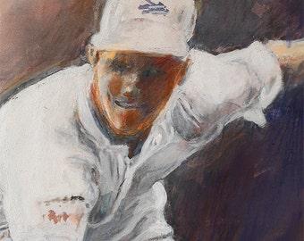 "Fine art print of original mixed media painting digital print ""Tennis Great"" by Vernon Grant 9"" x 11"""