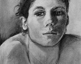 "Original art. Charcoal portrait of woman black and white, vivid and expressive drawing by Vernon Grant 11"" x 14"" on charcoal paper, Bemused"