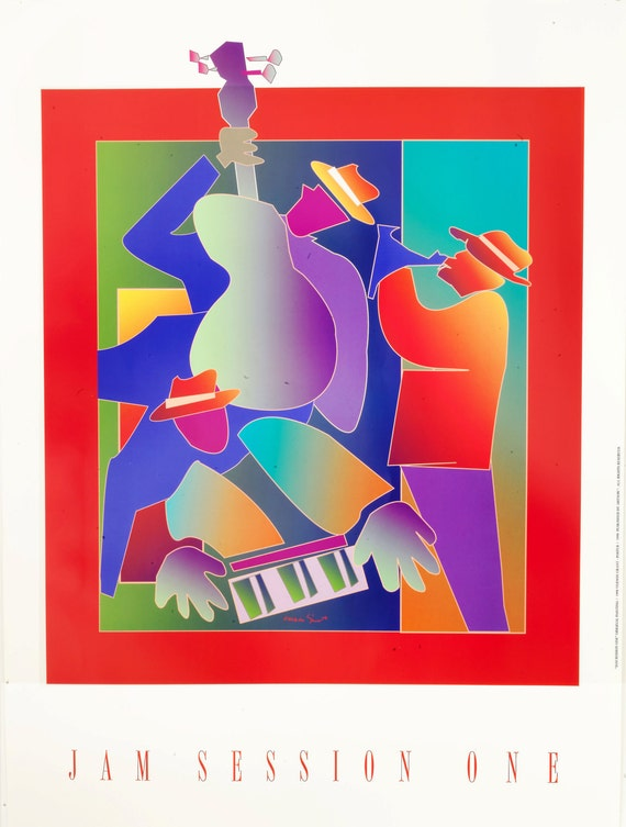 """Jazz music print colorful stylized images 22"""" x 30"""" large high quality print, Jam Session One"""