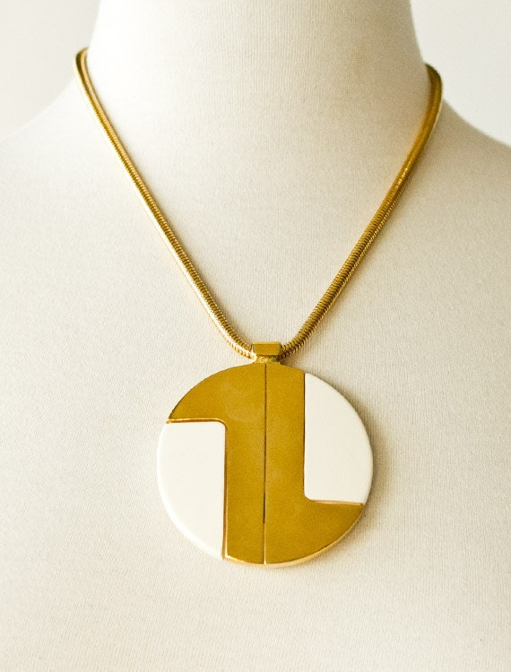 FINAL REDUCTION was 735 now 400 iconic vintage 1970s LANVIN mod gold enamel disc pendant w/snake chain