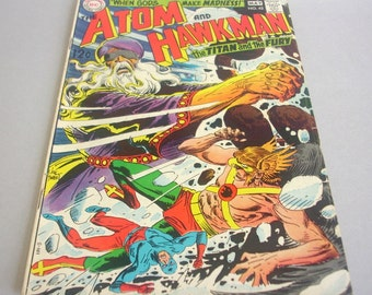 """Vintage The Atom and Hawkman Comic Book No. 42 """"When Gods Make Madness"""", The Titan and the Fury, May 1969, DC Comics"""