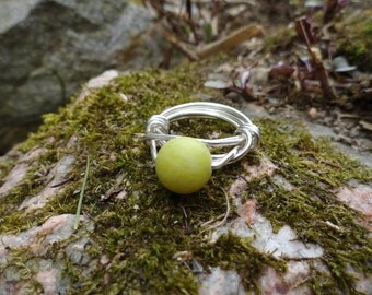 Mellow Yellow Lemon Jade Wire Wrapped Ring