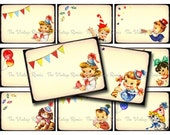 Vintage Birthday Party Digital Collage Sheet, Name Tags, Place Cards, Gift Tags ATC ACEO