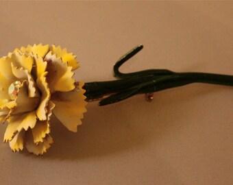 Vintage brooch rose with rhinestone center