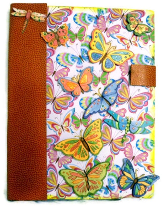 Altered Composition Book (Recycled) Hard Cover Butterfly Journal / Diary - Handmade (Butterflies/ Springtime/  Neon)