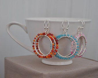Fun and Colorful Beaded Wrapped Earring Hoops
