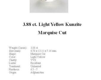 KUNZITE - Pretty Little 3.88 Ct. Pale Yellow Kunzite GemStone in a Gorgeous Marquise Cut...